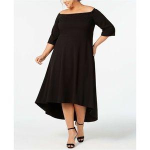 Calvin Klein Off the Shoulder Hi-Lo Beaded Dress